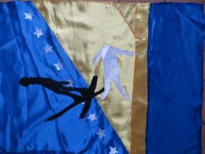 Skispringen auf der Flagge von Bosnien