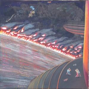 """ZUGINSFELD 32 """"O Veitstanz"""" gemalt von Dietmar Moews 2008 in Berlin Öl auf Leinwand 190 cm / 190 cm"""
