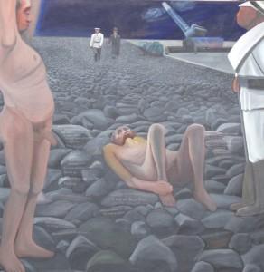 "ZUGINSFELD 33 ""Die dicke Berta"" gemalt von Dietmar Moews 2008 in Berlin 190/190cm Öl auf Leinwand"