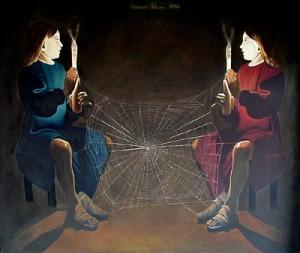 """DIETMAR MOEWS """"Theatralische Sendung"""", DMW 38.3.75, 162 cm / 192 cm, Öl auf Leinwand, 1975 in Springe gemalt"""