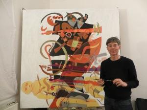 "Zuginsfeld 41 ""Überwindung"" Dietmar Moews malt im April 2014"