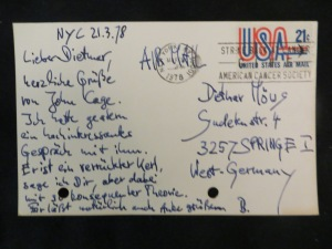 John Cage lässt irrtümlich Dietmar Moews grüßen