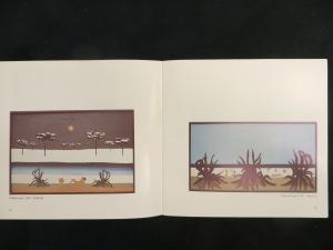 """""""winter music"""", DMW 104.61.76, 86 / 132,5 cm, Öl auf Pappe, Sammlung Haack verkauft; """"Agavenstrand"""" DMW 56.13.76, 155 / 287 cm, Öl auf Leinwand, Ankauf für die Sammlung der Stadt Hannover (Dr. Büchner / Dr. Bungenstab)"""