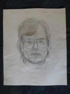 """Portraitzeichnung """"BERTHOLD TÜRCKE"""" von DIETMAR MOEWS, Sepiafarbstift weiß gehöht auf Tonkarton, 1976 in Springe gezeichnet"""