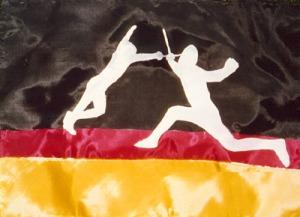 Deutschland / Fechten, DMW 587.x.2, Seiden-Applikation