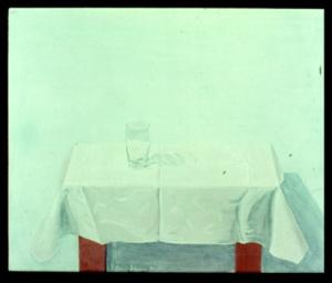 """DIETMAR MOEWS """"Holländischer Glastisch"""" DMW 18.6.74 62 cm / 75 cm, Öl auf Nessel, in Springe gemalt"""