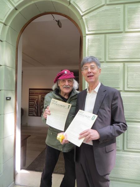 Franz Otto Kopp und Dietmar Moews, 4. 5. 2014 vor der Galerie Smend Köln, Mainzer Straße 31