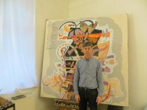 """ZUGINSFELD 41, DMW 676.3.11, hat den Titel """"Überwindung"""", nach dem Vorbildmotiv des Otto-Nebel-Gemäldes, 190cm / 190 cm, Öl auf Leinwand, mit Maler in Köln"""