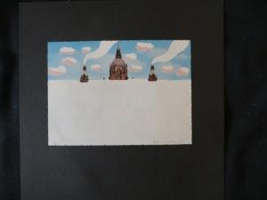 STEFAN SCHWERDTFEGER, Hannoversches Rathaus eingeschneit, bemalte Postkarte 1973