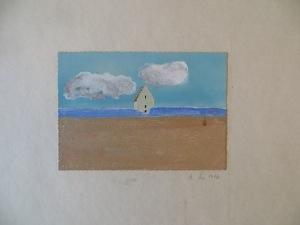 """STEFAN SCHWERDTFEGER, """"Tilsandete Kirke"""", übermalte Postkarte, 1973"""