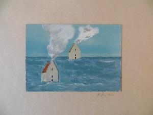 """STEFAN SCHWERDTFEGER """"Tilsandete Kirke"""", übermalte Postkarte, 1973"""