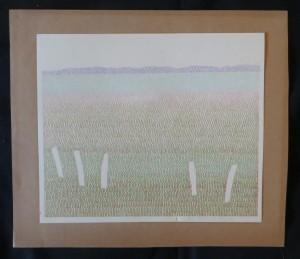 """Detlef aus dem Kahmen """"Landschaft bei Worpswede"""" 1974 Buntstiftzeichnung"""