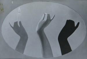 """EGON NEUBAUER """"Schattenspiel, 130 cm / 185 cm, Öl auf Lenwand, um 1972 in Hannover gemalt"""