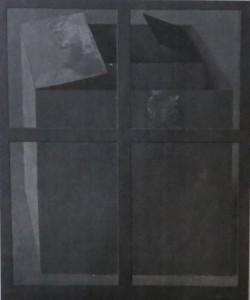 """ROLAND DÖRFLER """"Karton im Fenster"""" Farbe, Collage auf Leinwand, 1972"""