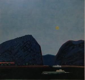 """PETER JANSSEN """"Loreley bei Sankt Goa"""", Tempera auf Leinwand 120 cm / 130 cm"""