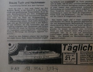 """""""Blaues Tuch und Hackmesser - bericht in der Hannoverschen Allgemeinen Zeitung am 12. Mai 1974"""