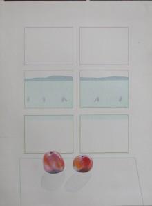 """DETLEF AUS DEM KAHMEN """"Worpsweder Fenster mit Äpfeln"""",Farbstiftzeichnung, 1974"""