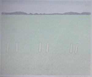 """DETLEF AUS DEM KAHMEN """"Worpsweder Landschaft"""", Farbstiftzeichnung, 1974"""