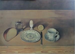 """BERNHARD DÖRRIES """"Frühstücksstilleben"""" Öl auf Pappe, 50 cm / 70 cm, 1927, Staatlicher Kunstbesitz"""