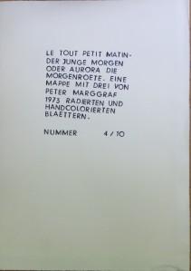 PETER MARGGRAF Mappe mit handkolorierten Radierungen 1973