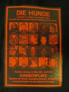 "Rosa Albert, Raschplatz Nachtensemble Hannover 1985 in ""Die Hunde"""