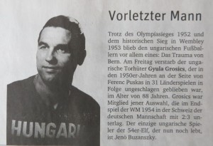 Grosics, WM-Torwart Ungarn 1954