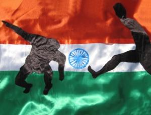 "DIETMAR MOEWS Sportflagge INDIEN ""Fußball"" Seidenapplikation"