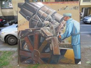 """ZUGINSFELD 27 """"Man kann ja nie wissen"""" DMW 548.2.99, 198cm / 198 cm, Öl auf Leinwand, in Dresden 1999 gemalt"""
