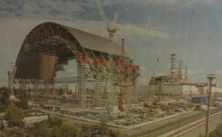 Stahl-Sarkofag in der Ukraine bei Tschernobyl