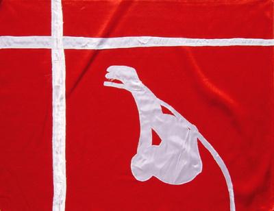 Das christliche Kreuz auf der Flagge Dänermarks mit Stabhochspringer von DIETMAR MOEWS