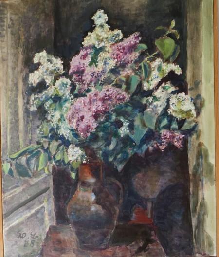 """Walter Boeckh, """"Fliederstrauß"""",Ölmalerei"""